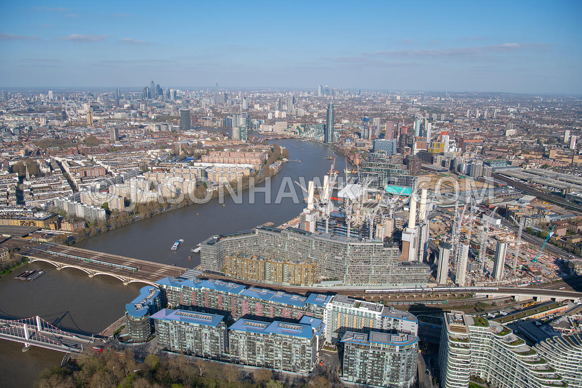 Aerial view of Battersea Power Station Battersea, Nine Elms, London. Altissima House, Arches Lane, Battersea Footbridge, Batt...