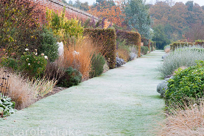 Walled garden designed by Brita von Schoenaich including long border  divided by hornbeam 'walls' and interplanted with block...