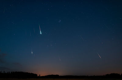 36 perseid meteors above the countryside landscape in Southern Finland on Aug 14 2019 between 01.48 - 03.29. Composite image.