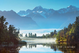 Mountain impression at Lake Matheson - Oceania, New Zealand, South Island, West Coast, Westland, Westland National Park, Fox ...