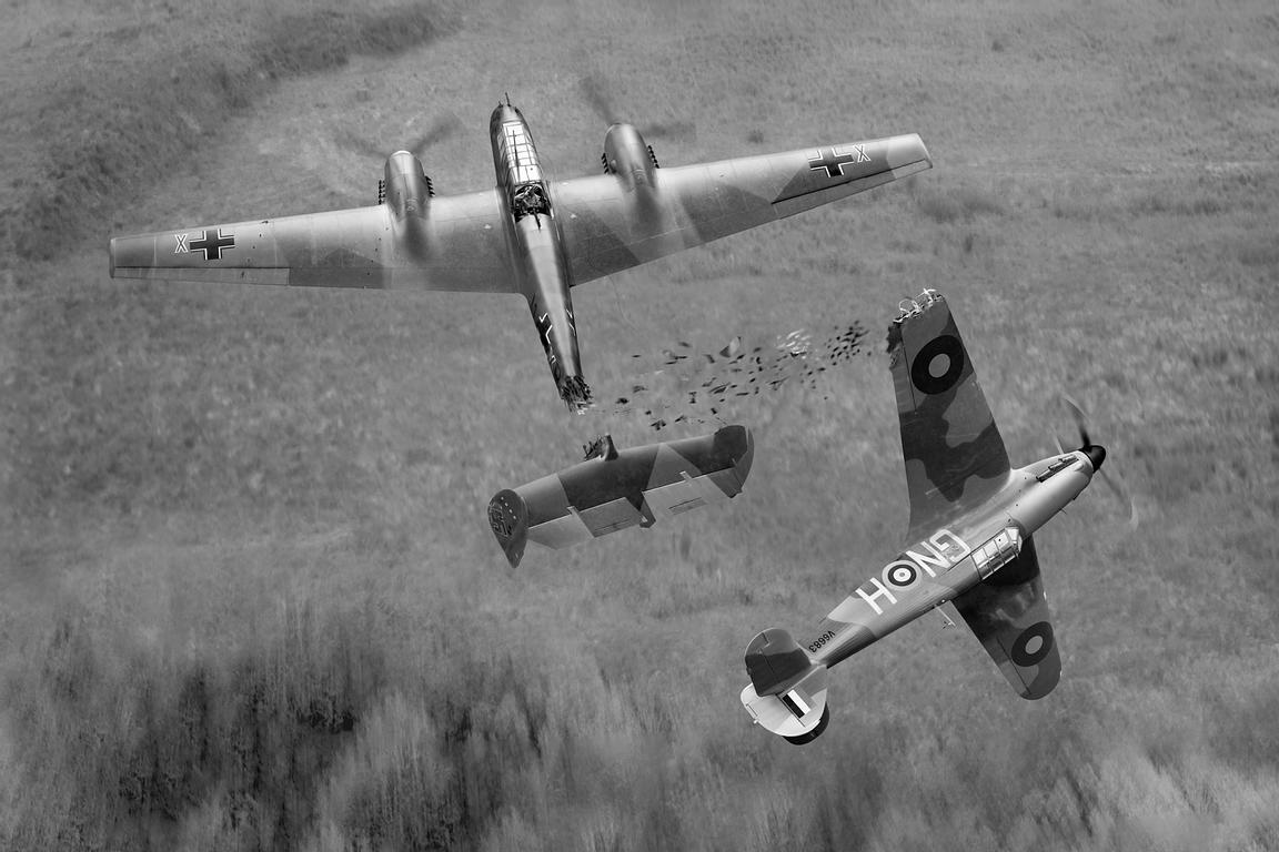 Percy Burton Hurricane ramming Messerschmitt Bf 110, B&W version