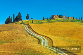 Farm house in farmland - Europe, Italy, Tuscany, Siena, Val d'Orcia, La Foce - scan