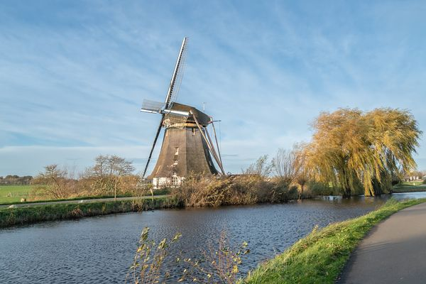 Dutch windmill in the wind