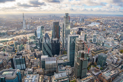 City of London, aerial view. 20 Fenchurch St, 22 Bishopsgate, 30 St Mary's Axe, 100 Bishopsgate, City cluster, City of London...
