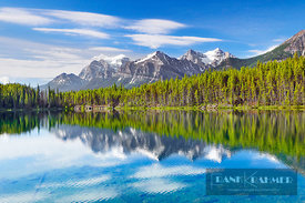 Mountain landscape at Herbert Lake - North America, Canada, Alberta, Banff National Park, Herbert Lake (Rocky Mountains) - di...