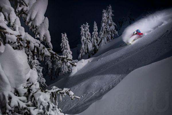 Shadow, light, trees and a powder turn with Adrien Coirier