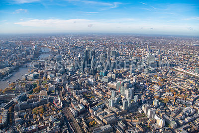 Aerial view of the City of London, Aldgate East, Aldgate East Station, City of London, london, Spitalfields, Tower Hill, London.