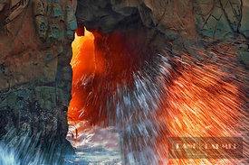 Cliff landscape and wave - North America, USA, California, Monterey, Big Sur, Pfeiffer Beach - digital