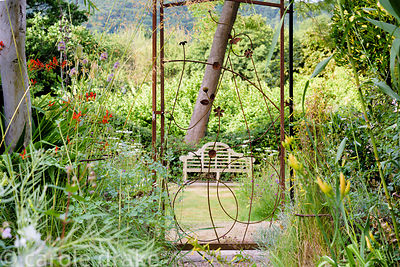 Decorative metal gate made by Steve Jackman framed by grasses and herbaceous perennials at Five Oaks Cottage garden in July