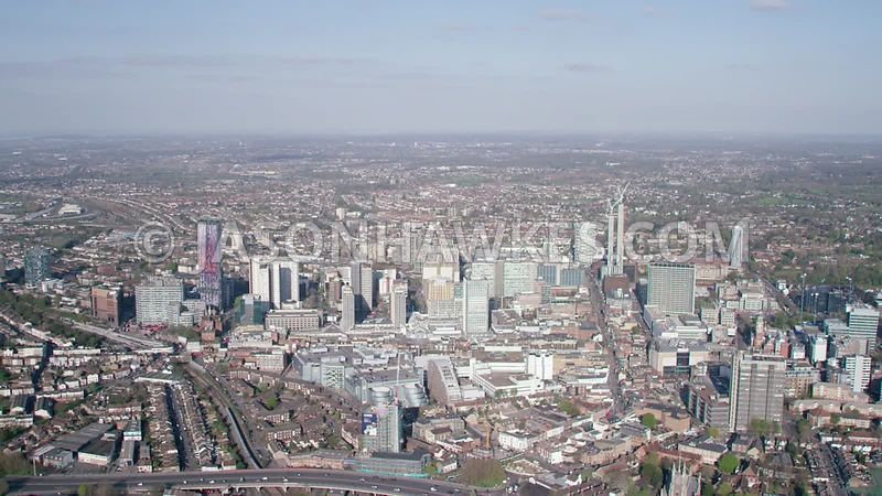 Aerial helicopter footage of Croydon, England, UK.