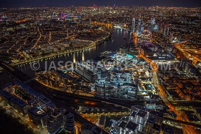 Night aerial view over Battersea Power Station, Battersea, London.