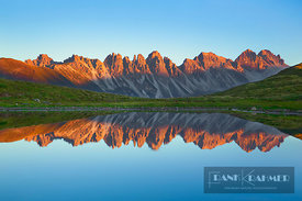 Mountain impression reflection of Kalkkoegel in Salfeinssee - Europe, Austria, Tyrol, Innsbruck, Axams, Salfeinssee (Alps, St...