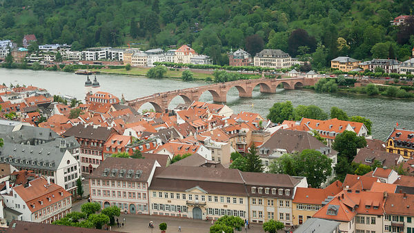 Aerial view on the Old Bridge and river Neckar, Heidelberg
