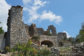 The ruins of an old templar castle in  Allègre-les-Fumades, Gard, France