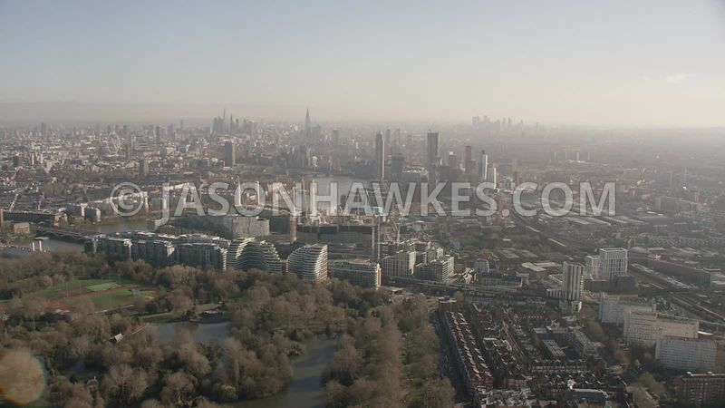 Helicopter aerial footage of Battersea park, Battersea, Nine Elms, London.