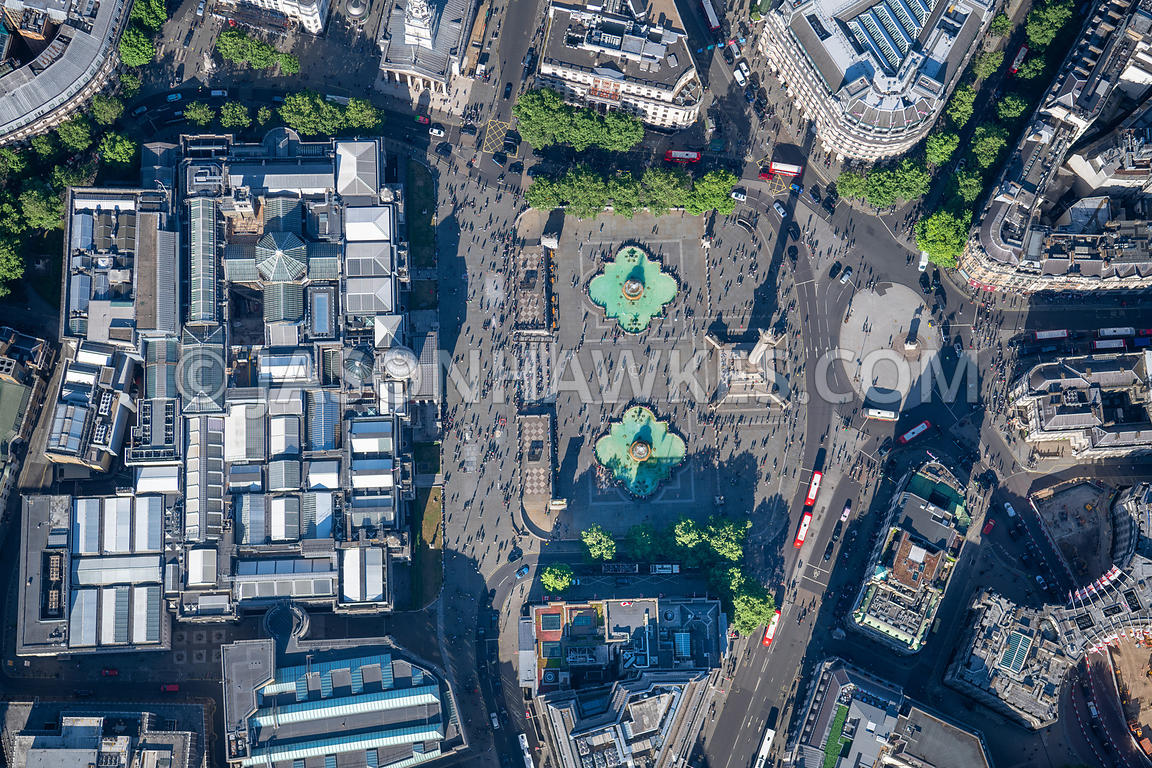 Aerial view of Trafalgar Square and National Gallery, London.