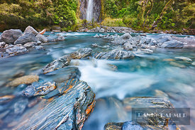 Waterfall and brook - Oceania, New Zealand, South Island, West Coast, Westland, Mount Aspiring National Park, Haast River, Th...