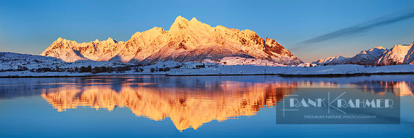 Frosty mountains at Austnesfjorden - Europe, Norway, Nordland, Lofoten, Austvagoya, Austnesfjorden (Lapland) - digital