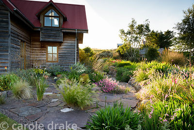 Stone paved terrace outside the house is broken up by grasses and dieramas around a raised bed containing largely South Afric...