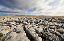 Views towards Pen-y-ghent from the limestone formations of Long