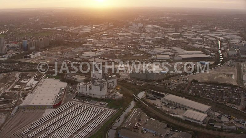 Aerial footage of Old Oak Common , London.