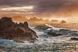 Rocky coast at Pointe de Creac'h with surf - Europe, France, Brittany, Finistere, Brest, Ouessant, Pointe de Creac'h - digital