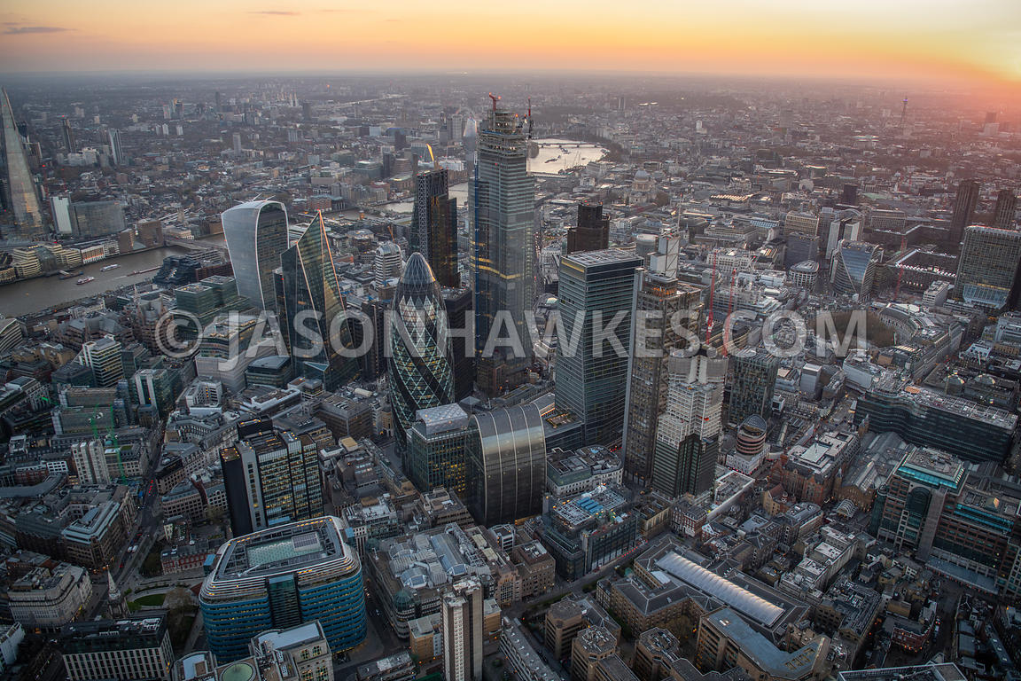 Aerial view of the City of London. 6 Bevis Marks, 30 St Mary Axe, 70 St Mary Axe, 100 Bishopsgate, 150 Bishopsgate, Adams Cou...