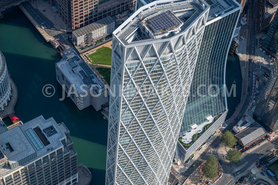 Aerial view of Newfoundland Tower, Canary Wharf, London.