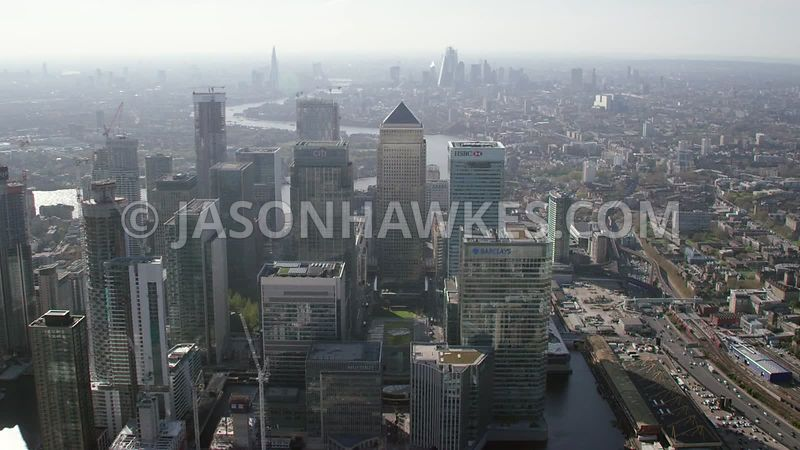 Aerial footage of Canary Wharf, Isle of Dogs, London. Landmark Pinnacle, London, London aerial footage, London helicopter aer...