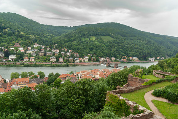 Aerial view on the Theodor Heuss Bridge and river Neckar, Heidelberg