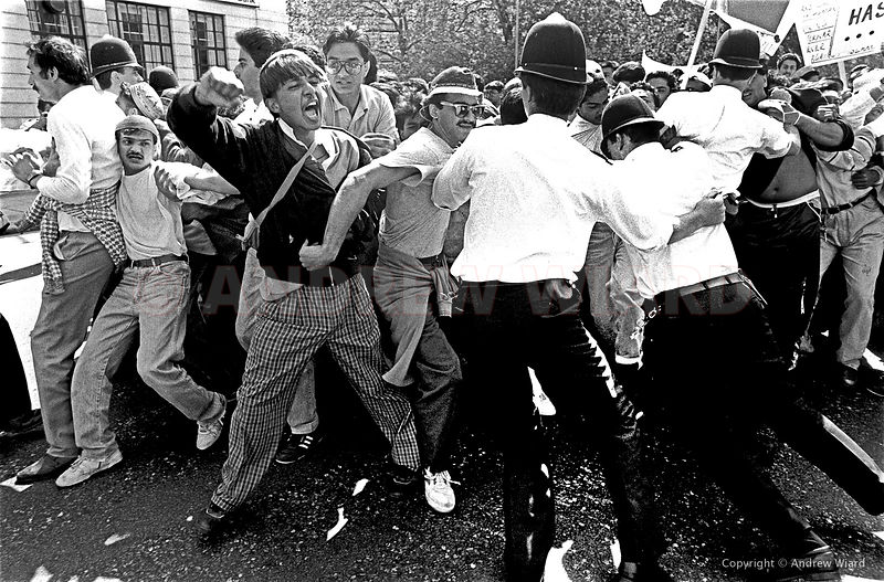 England, UK . 27.5.1989. London . Moslem demonstrators descend on Parliament calling for the execution of Salman Rushdie auth...