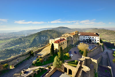The 12th century castle of Palmela and the Pousada (Hotel) with wide views to the Arrabida Nature Park. Portugal