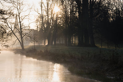 Early morning sun illuminates mist rising from the River Lambourn as it runs through Welford Park, Welford, Newbury, Berkshir...