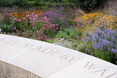 Late summer border behind a sweeping 40' stone seat is planted with echinaceas, Verbena bonariensis, agastaches, heleniums an...