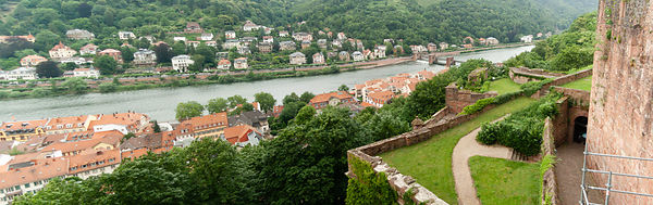 Panorama aerial view on Heidelberg and river Neckar