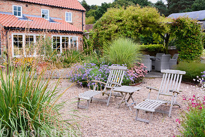 Pair of loungers in a gravel garden in September surrounded by grasses and herbaceous perennials including Dierama pulcherrim...
