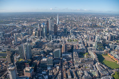 Aerial view of 14-18 Finsbury Square, Finsbury, Broadgate, Broadgate Circle, City of London.