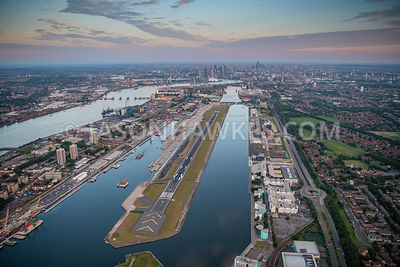 Aerial view of City Airport, Royal Docks, London.