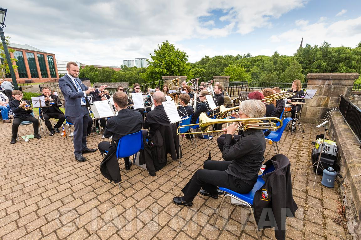 Game of Two Halves opening  day with the Kirkintilloch and Kelvin Brass Band at Summerlee Museum, Coatbridge..6.7.19..Picture...