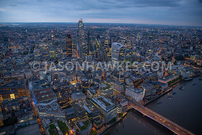 City of London, aerial view at dusk