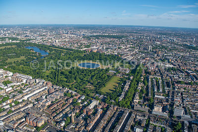Bayswater Road, Kensington Gardens, London. Aerial view