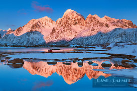 Coast mountain Lofoten in new snow - Europe, Norway, Nordland, Lofoten, Austvagoya, Austnesfjorden, Madsvik (Lapland) - digital