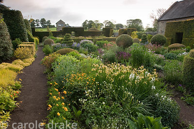 The Flower Garden features strong blocks of box and yew that frame cottage garden plants and flowers including Iris forrestii...