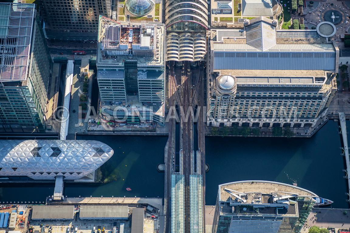 Aerial view over Canary Wharf, London.