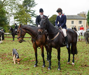 Ian Arthur, Ida Thore at the meet. The Cottesmore Hunt at Somerby