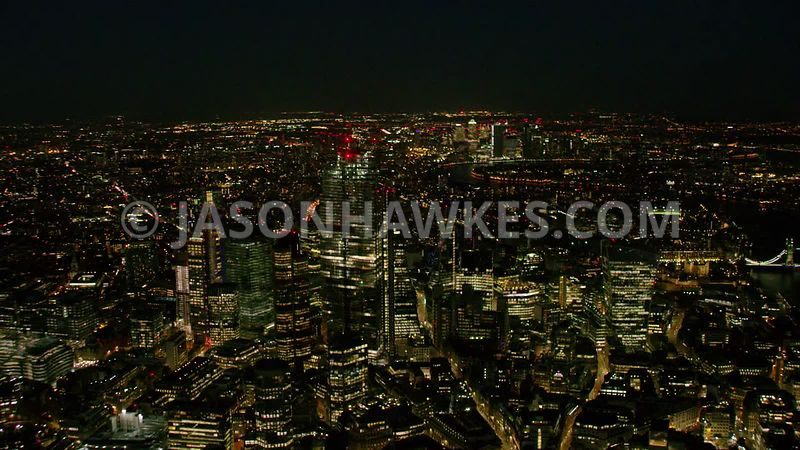 Night aerial footage of the City of London, Square Mile, London.