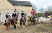 Chenerys, Chris Edwards and hounds at the meet. The Cottesmore Hunt at Town Park Farm 7/1