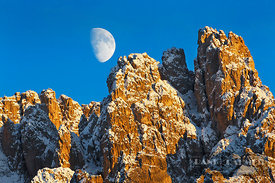 Mountain impression Cadini di Misurina and moon - Europe, Italy, Veneto, Belluno, Sexten Dolomites, Lago Antorno (Alps, Dolom...