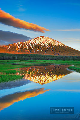 Forest pond am Sparks Lake with Mount Bachelor - North America, USA, Oregon, Deschutes, Cascade Lakes, Sparks Lake, north (Ca...