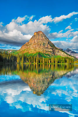 Mountain impression at Two Medicine Lake with reflection of Sinopah Mountain - North America, USA, Montana, Glacier National ...